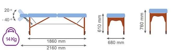 Medidas camilla plegable madera CP-241